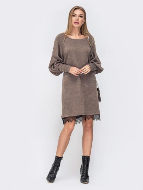 Платье с объемным рукавом ии кружевом по низу бежевое 41326, фото 1