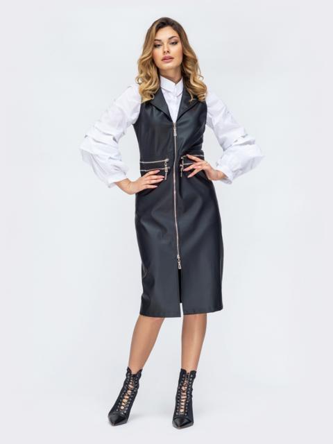 Чёрное платье из эко-кожи с молнией по длине 44895, фото 1