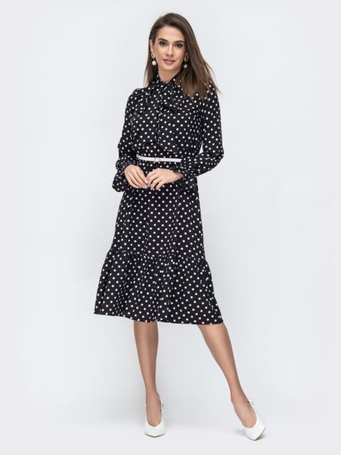 Чёрное платье в горох с воротником-аскот 44889, фото 1