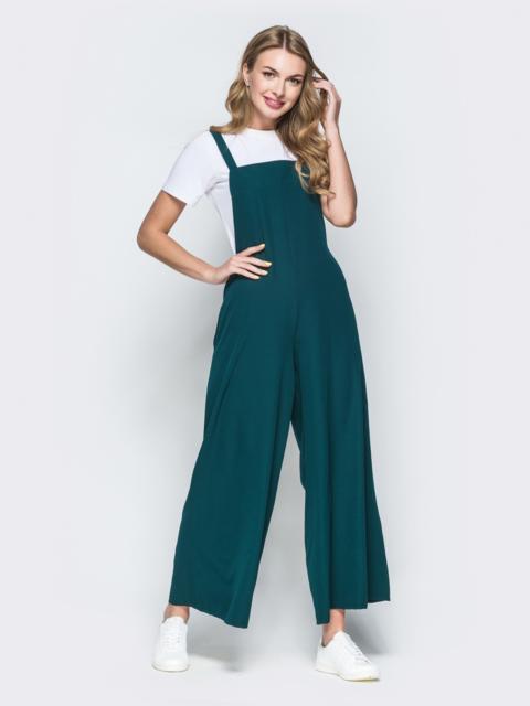 Комбинезон в стиле oversize с брюками-кюлотами зелёный 38463, фото 1