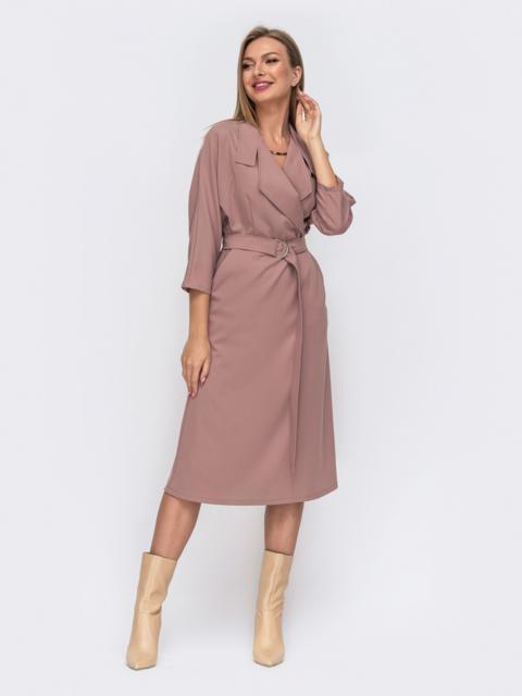 Розовое платье с лацканами и цельнокроеным рукавом 50819, фото 1