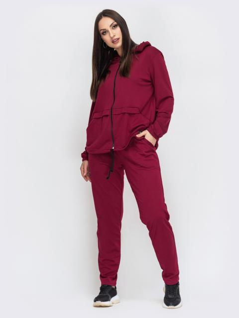 Спортивный костюм большого размера бордовый 44478, фото 1