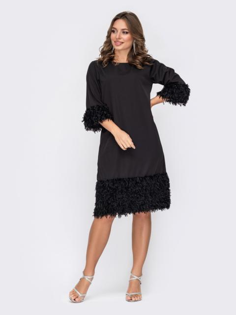 Черное платье со вставками из искусственных перьев по низу 52308, фото 1