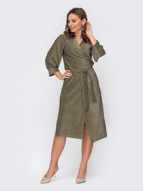 Платье на запах с нитью люрекса желтое 52309, фото 1