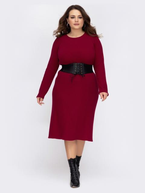 Бордовое платье батал приталенного кроя 44197, фото 1