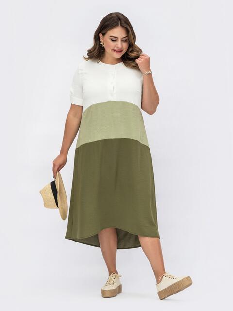 Платье батал цвета хаки с пуговицами на лифе 54076, фото 1