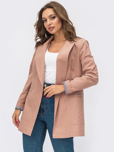 Розовый пиджак из льняной ткани с лацканами 54099, фото 1