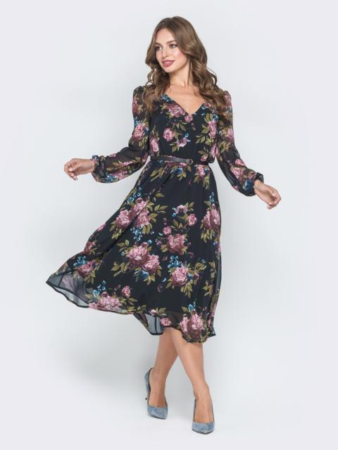Шифоновое платье чёрного цвета с растительным принтом 42010, фото 1