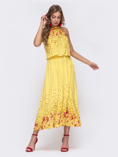 Длинное платье с принтом и резинкой по талии желтое 48152, фото 1