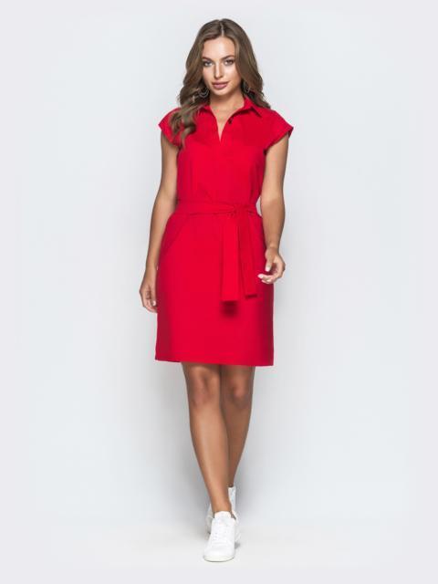 Хлопковое платье прямого кроя красное 38887, фото 1