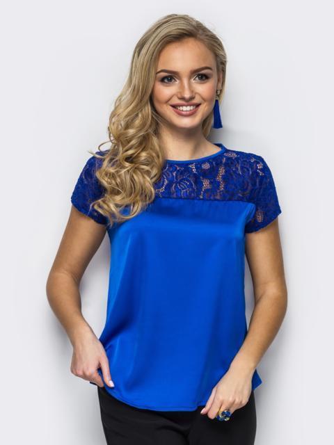 Шелковая блузка с гипюровой кокеткой синяя 10005, фото 1