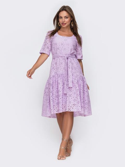 Свободное платье из прошвы с воланом по низу сиреневое 49562, фото 1