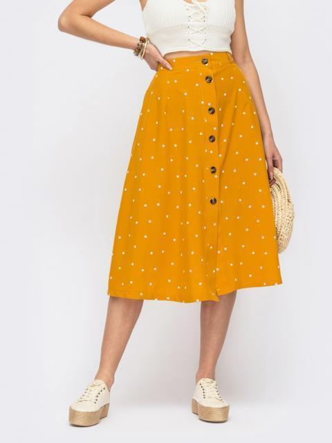 Расклешенная юбка-миди в горох на пуговицах желтая 53961, фото 1
