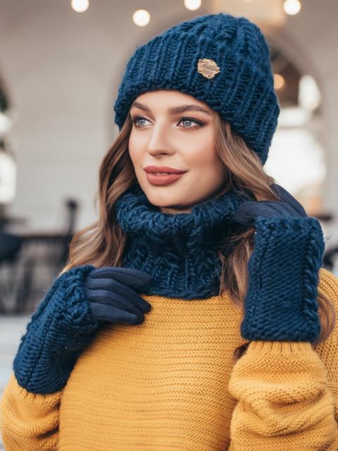 Комплект из шапки-бини с хомутом тёмно-синий 40403, фото 1