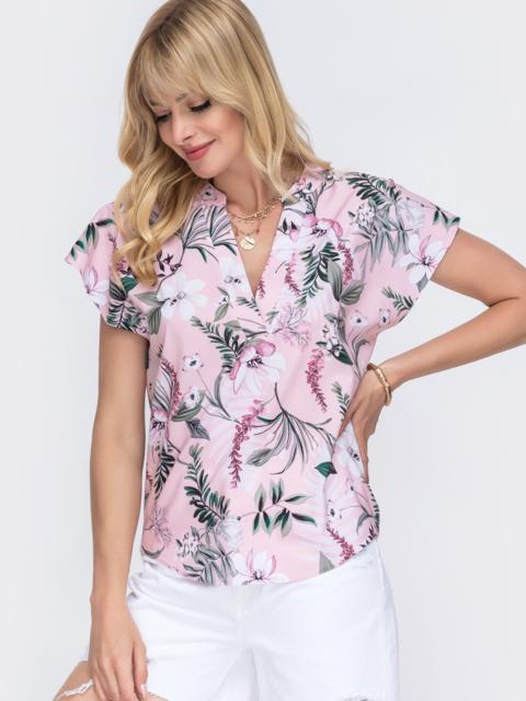 Розовая блузка прямого кроя с принтом и V-вырезом 49320, фото 1