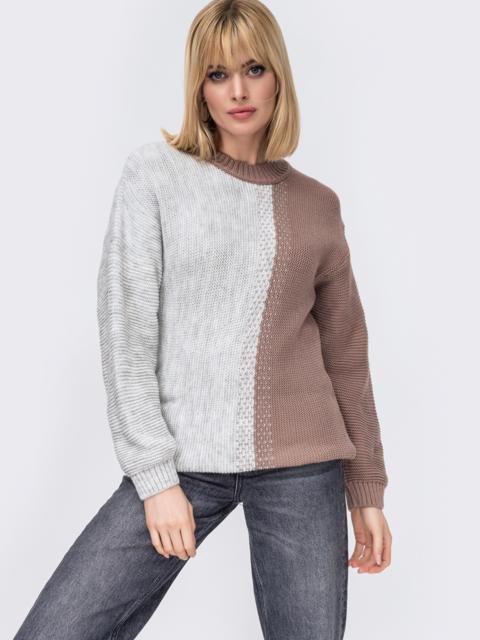 Удлинённый свитер гладкой вязки бежевый 52885, фото 1