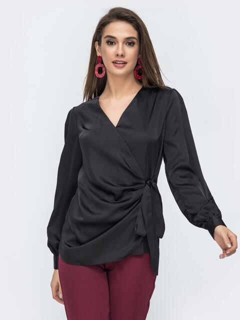 Чёрная блузка на запах из шелка 44869, фото 1