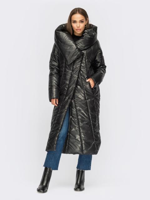 Длинная зимняя куртка черного цвета с объемным капюшоном 54995, фото 1
