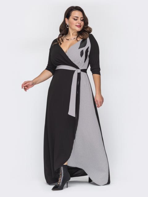 Длинное платье батал с контрастной вставкой чёрное 52084, фото 1