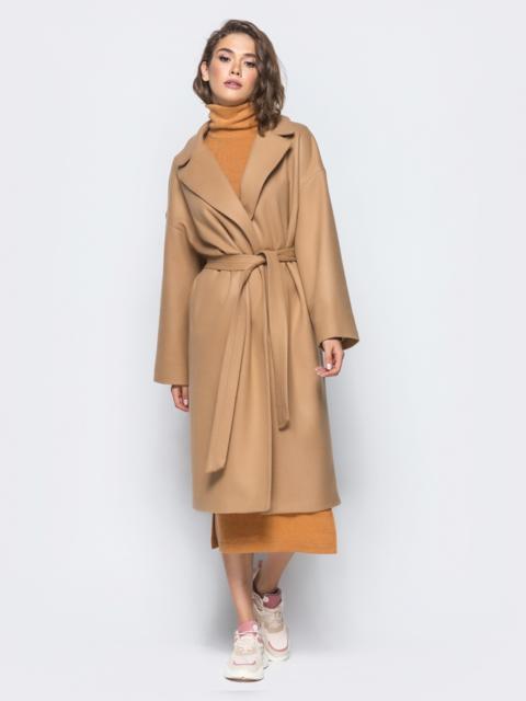Пальто oversize из шерстяных и акриловых волокон бежевое 16562, фото 3