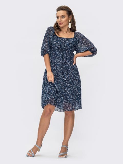 Платье из шифона темно-синего цвета с завышенной талией 54381, фото 1
