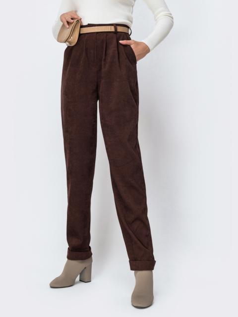 Широкие брюки из вельвета с завышенной талией коричневые 42396, фото 1