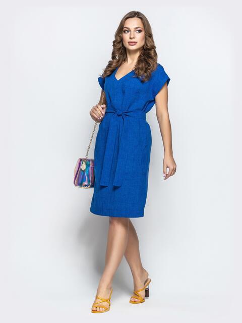 Синее льняное платье с укороченным рукавом поясом 21785, фото 1