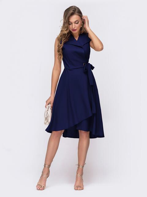 Синее платье на запах с удлиненной спинкой 54226, фото 1