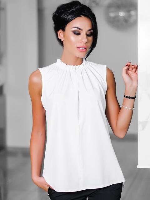 Белая блузка с присборенной горловиной  10243, фото 1