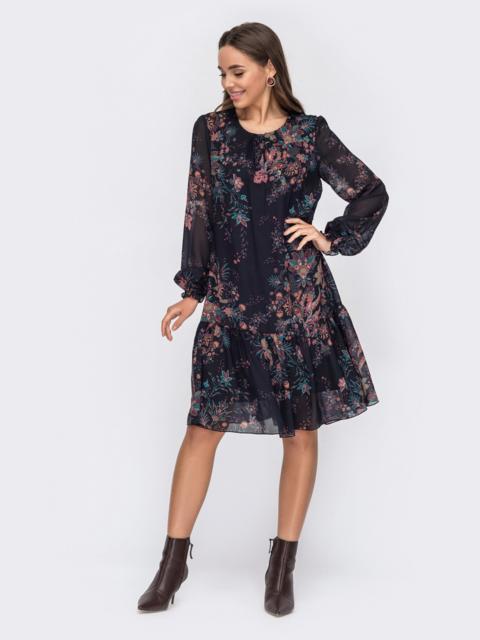 Черное платье-трапеция из шифона с принтом 53312, фото 1