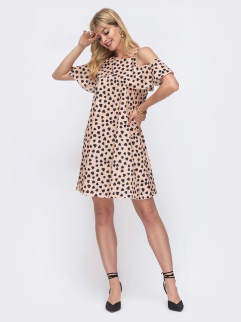 Платье цвета пудры с принтом и открытыми плечами 49555, фото 1
