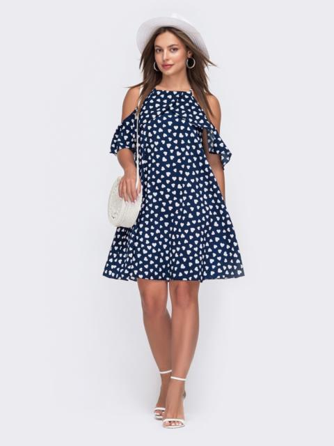 Темно-синее платье с принтом и открытыми плечами 49554, фото 1