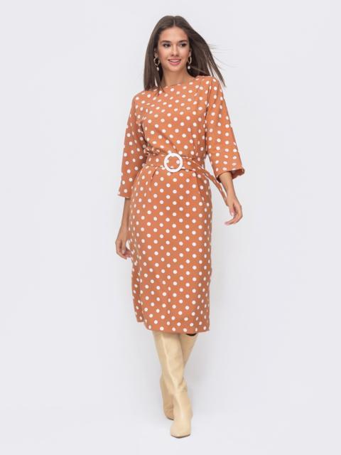Бежевое платье-миди в горох с цельнокроеным рукавом 51143, фото 1