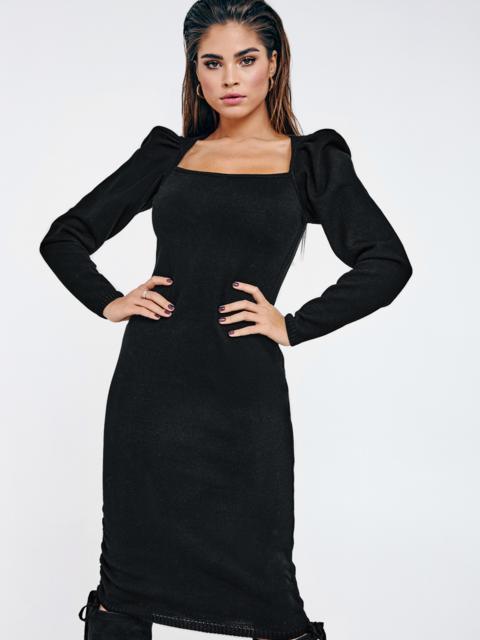 Чёрное платье мелкой вязки с кулисками по бокам 53025, фото 1