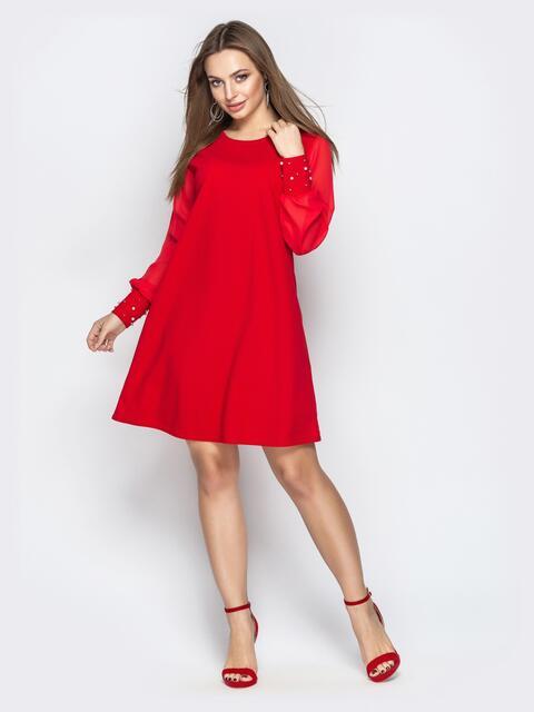 Красное платье с шифоновыми рукавами и жемчужинами на манжетах 20609, фото 1