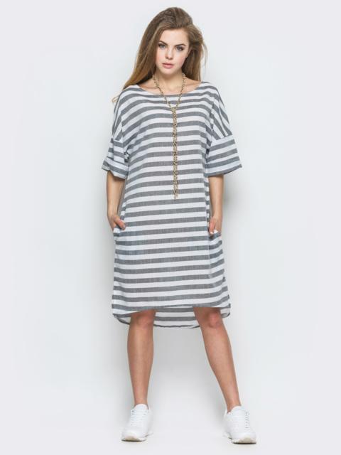 Серое платье-футболка в полоску свободного кроя 21769, фото 1