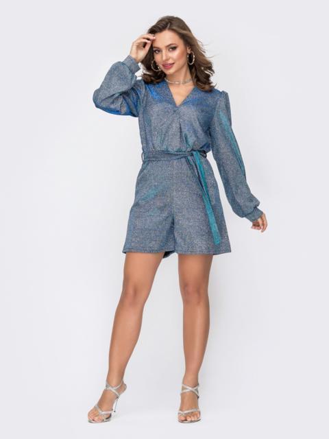 Синий комбинезон с люрексом и шортами 52059, фото 1