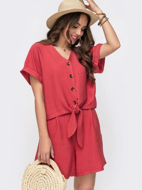 Комплект из блузки с цельнокроенным рукавом и шорт коралловый 49315, фото 1