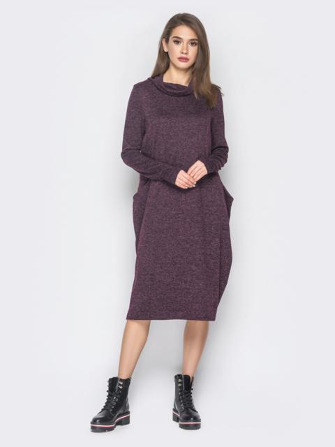 Платье в стиле oversize из полированной ангоры фиолетовое 19051, фото 1