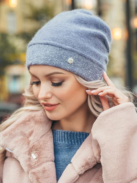 Голубая двухслойная шапка с нитью люрекса 50522, фото 1