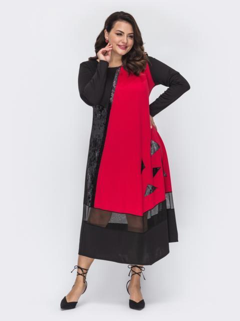 Комбинированное платье-макси большого размера черное 52086, фото 1