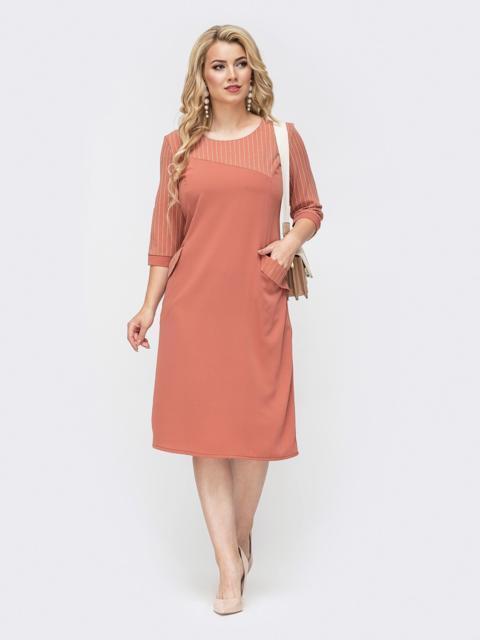 Коралловое платье батал с фигурной кокеткой в полоску 50781, фото 1