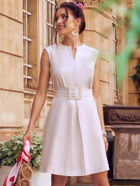 Платье-трапеция из льна со встречной складкой по полочке бежевое 54386, фото 1