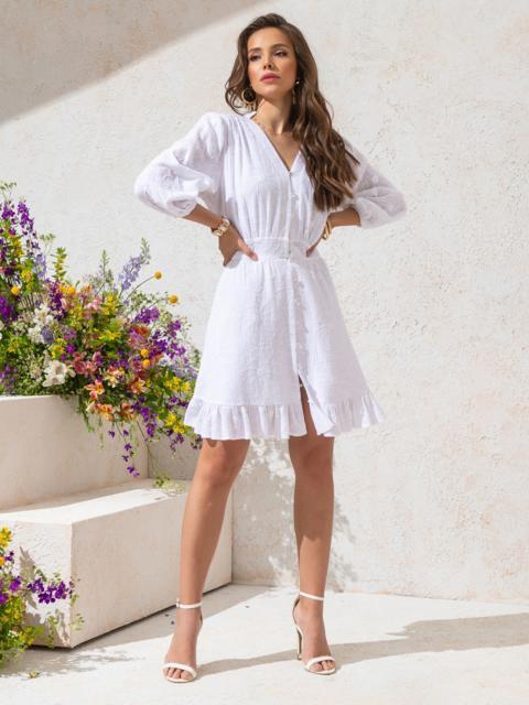 Приталенное платье из фактурного хлопка на пуговицах белое 49143, фото 1