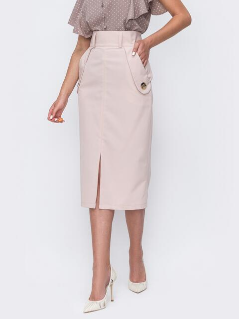 Пудровая юбка прямого кроя с разрезом спереди 49510, фото 1