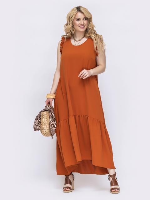 Терракотовое платье свободного кроя батал 47821, фото 1