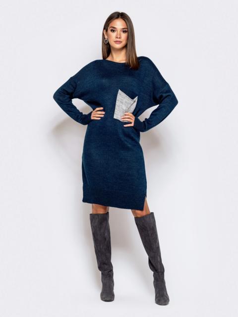 Вязаное платье с вырезом по спинке тёмно-синее 41045, фото 1