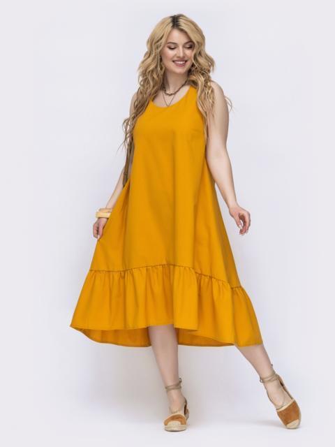 Желтое платье свободного кроя батал 47825, фото 1