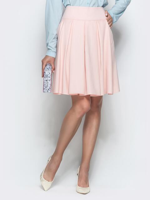 Льняная юбка с бантовыми складками и карманами розовая 39807, фото 1