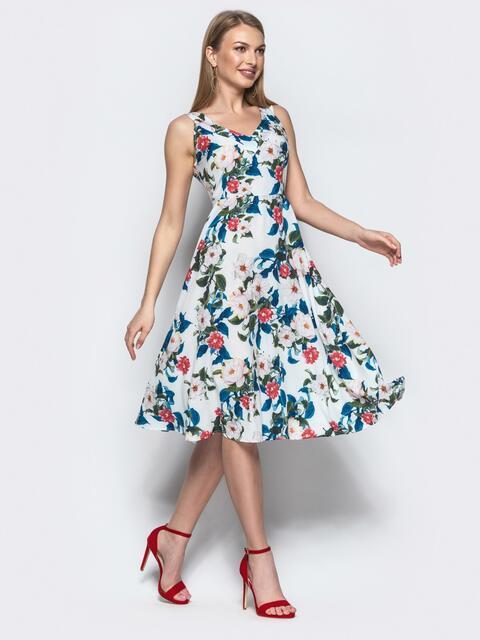 Белое платье приталенного кроя в цветочный принт 21671, фото 1